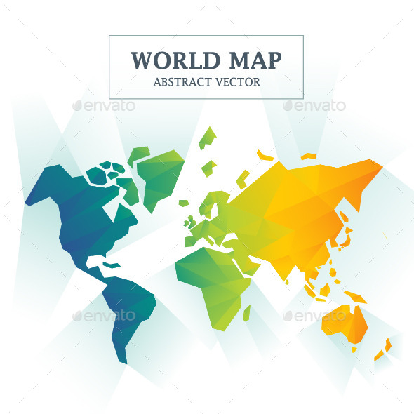 World Map Abstract Full Color  - Backgrounds Decorative