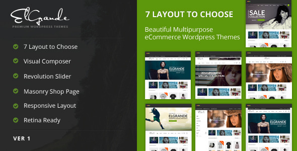 Elgrande – 7 Beautiful Layouts eCommerce Theme