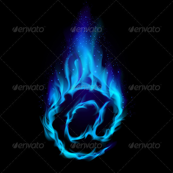 Blue Hot Symbol of AT - Flourishes / Swirls Decorative