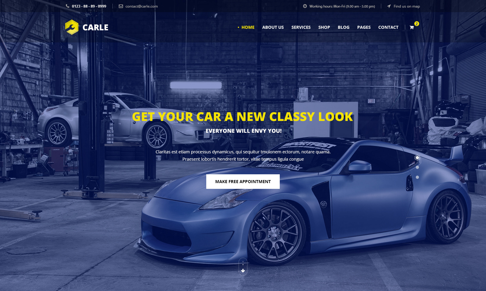 Carle Car Service And Shop PSD Template By NooThemePSD ThemeForest - Free find us map header