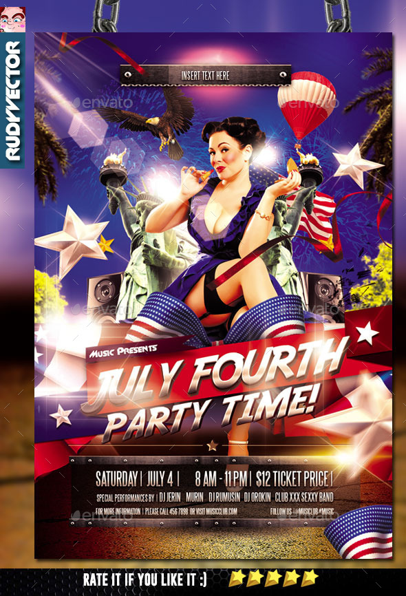 July Fourth Party Time Flyer - Clubs & Parties Events