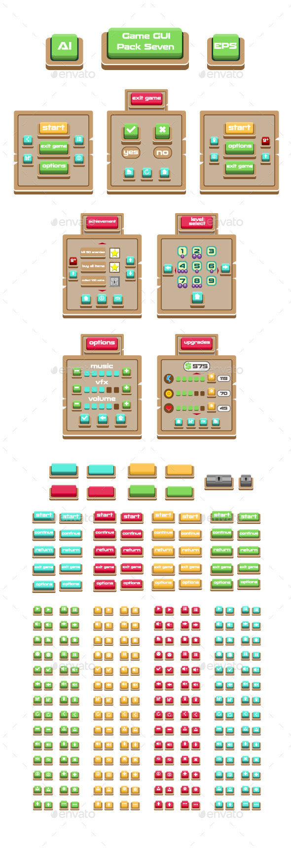 Game GUI Pack Seven - User Interfaces Game Assets