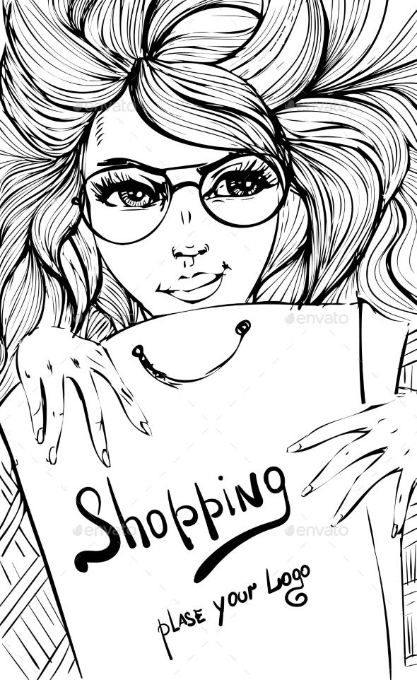Vector Fashion Shopping Girl - Retail Commercial / Shopping