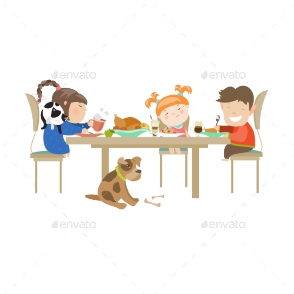 Illustration Of Children Eating On a White - People Characters