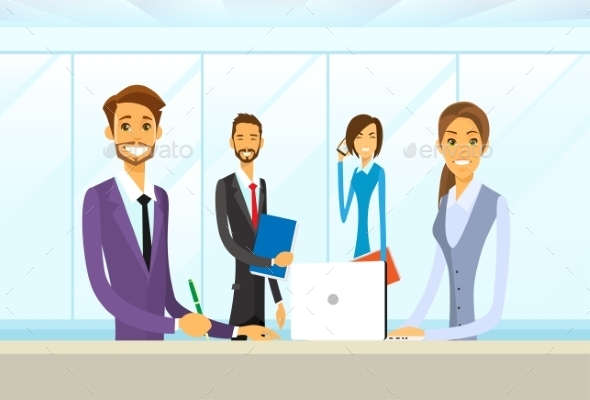 Business People Group Sitting At Office Desk Flat - Concepts Business