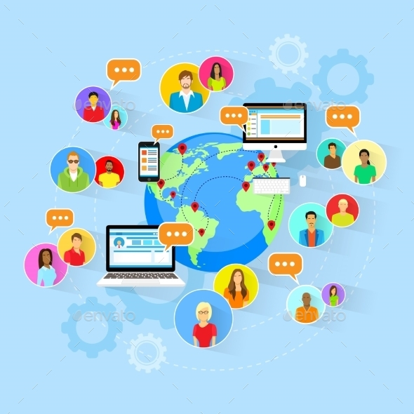 Social Media Global Communication People World Map - Web Technology