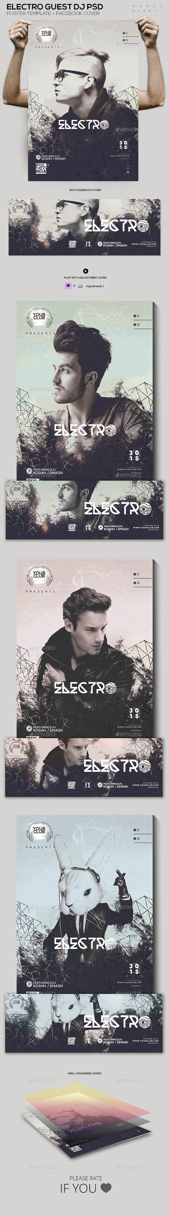 Electro Guest DJ PSD Template - Clubs & Parties Events