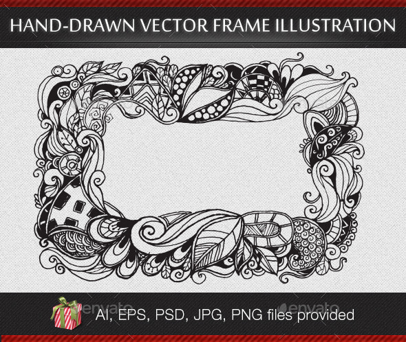 Abstract Hand-drawn Vector Frame Illustration - Borders Decorative