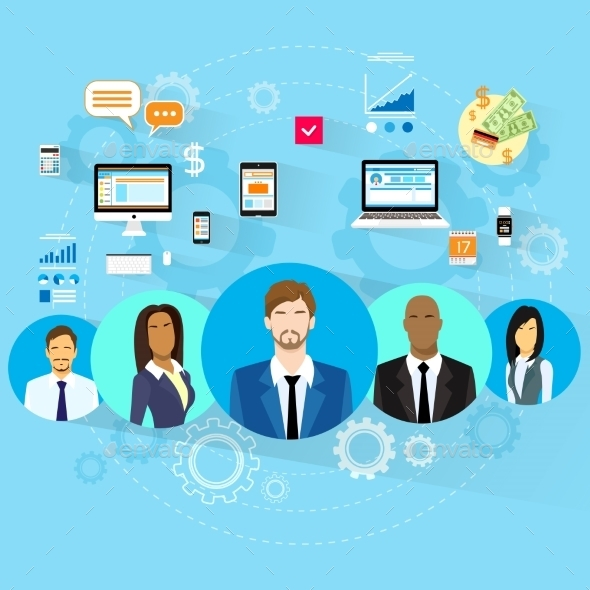Business People Using Electronic Computer Digital - Computers Technology