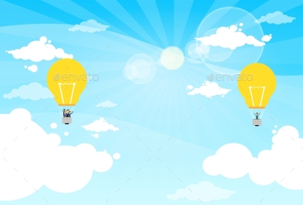 Business People Group Fly Air Balloon Light Bulb - Concepts Business