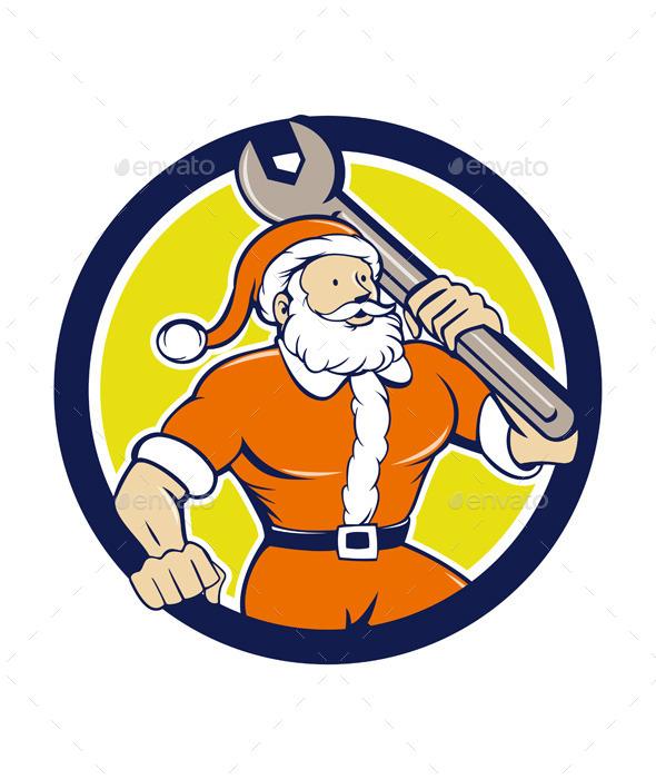 Santa Claus Mechanic Spanner Circle Cartoon - People Characters