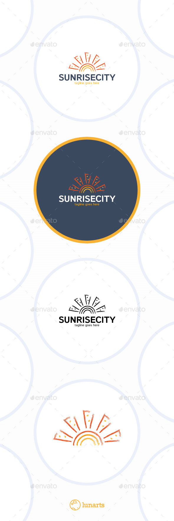 Sunrise City Logo - Sea Sun - Nature Logo Templates