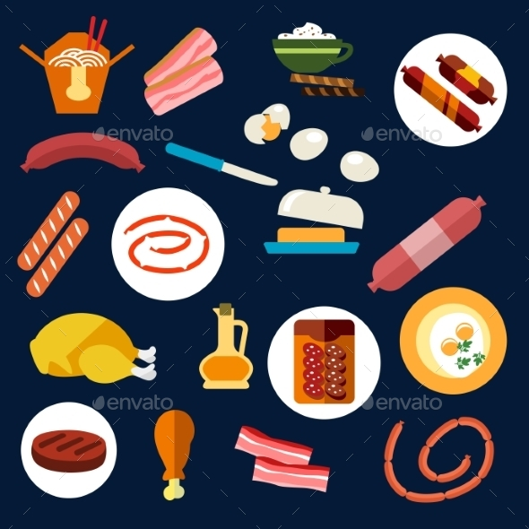 Set Of Flat Food And Meat Icons - Food Objects