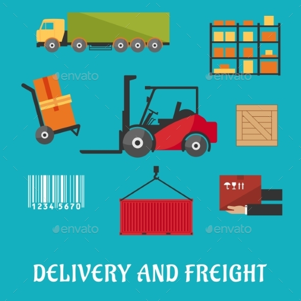 Delivery And Freight Flat Infographic - Industries Business