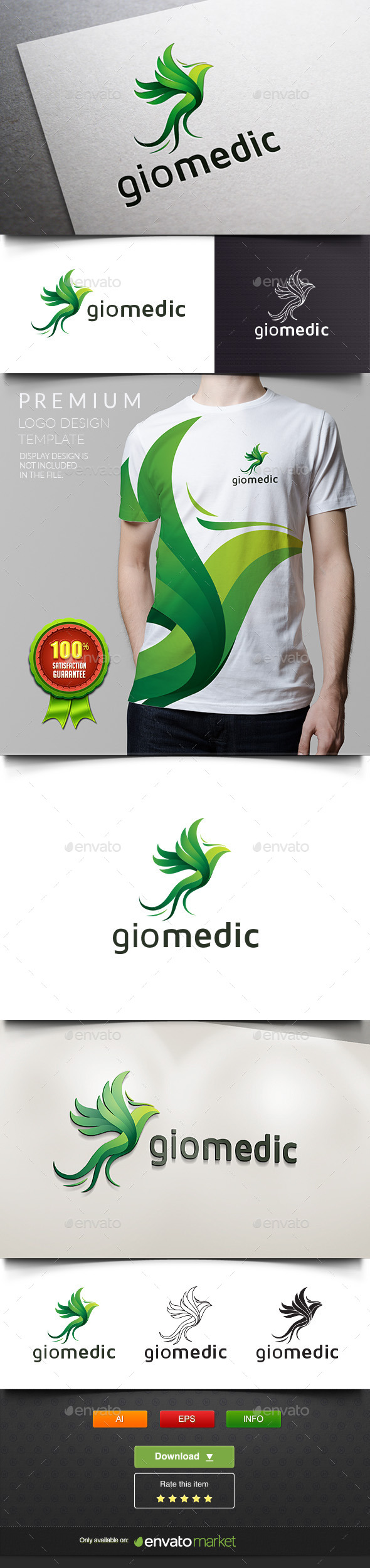 Giomedic - Green Parrot - Animals Logo Templates