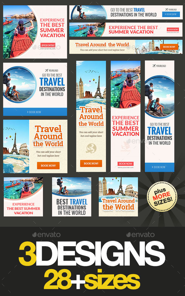 Travel Banner Bundle - Banners & Ads Web Elements