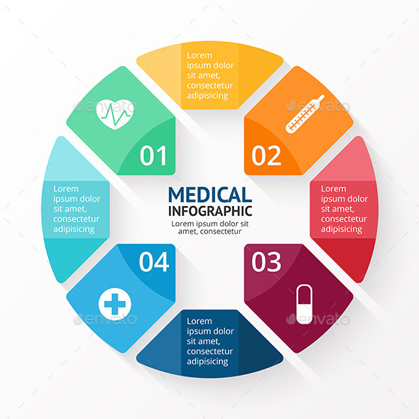 Medical circle plus sign infographic.  - Infographics