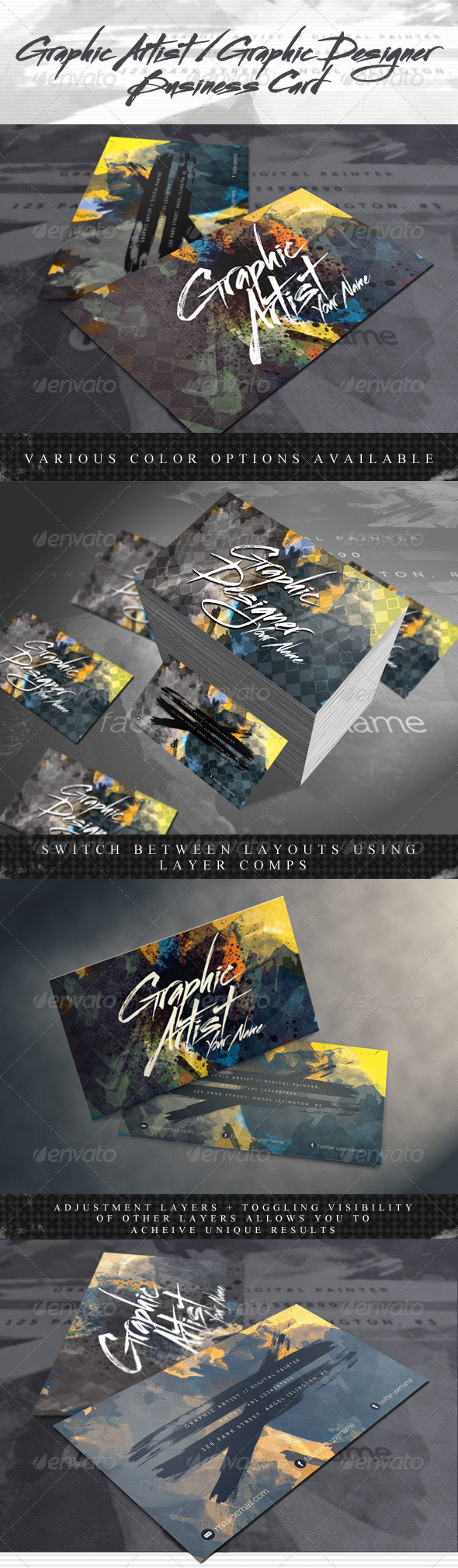 Artistic Business Card for Artists & Designers - Creative Business Cards