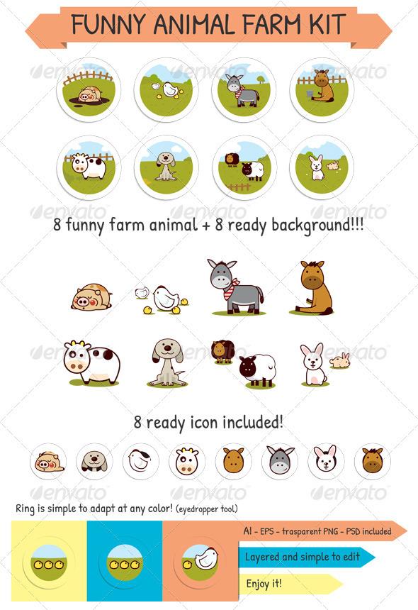 Funny Animal Farm Kit - Animals Characters