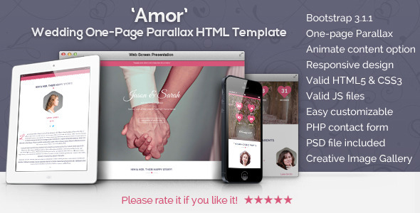 Amor – Parallax Animated Wedding HTML Template