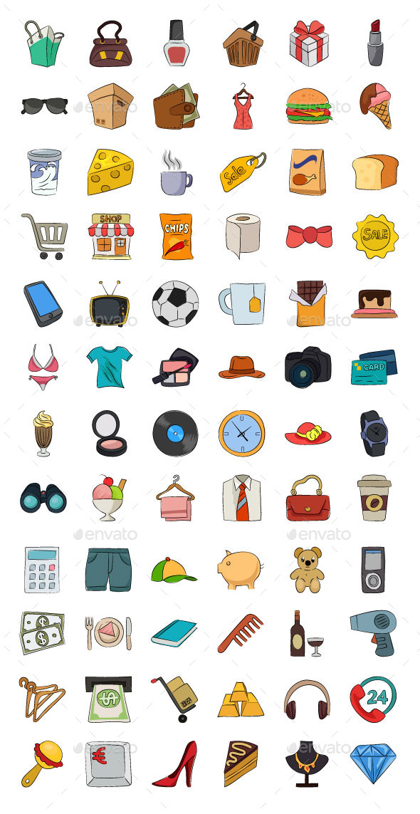 Shopping Hand Drawn Vector Icons - Objects Icons