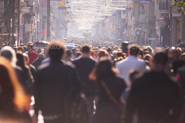 people crowd walking on street - Stock Photo - Images