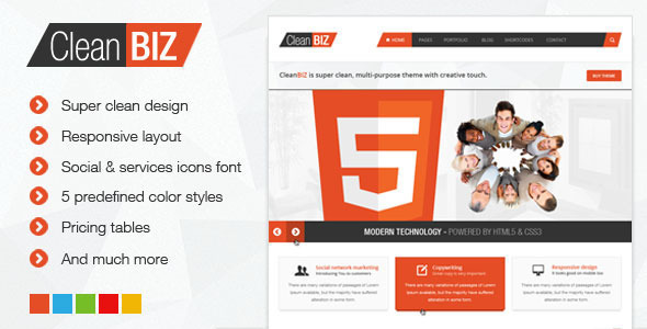 CleanBIZ – Multipurpose HTML5 Template