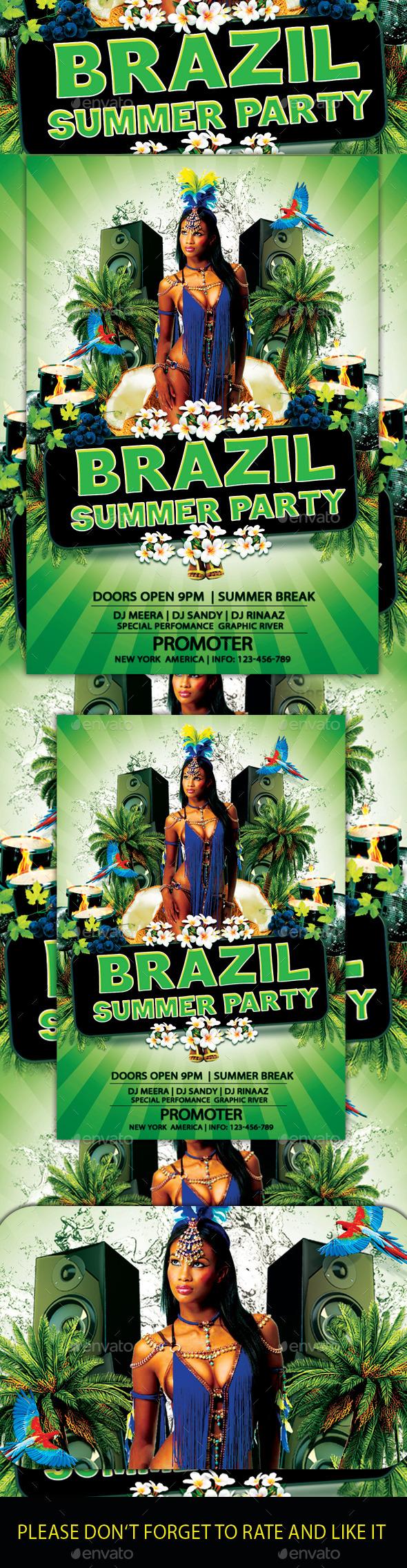 Brazil Summer Flyer - Flyers Print Templates
