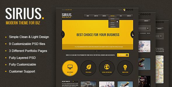 Sirius – Responsive HTML Template, SASS