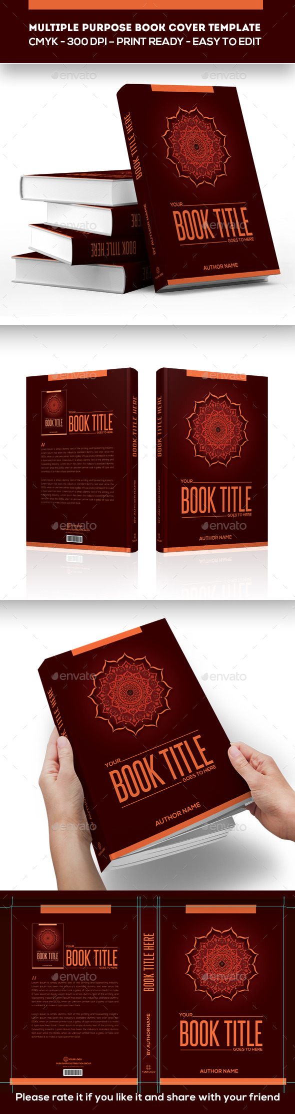 Multiple Purpose Book Cover Template - Print Templates