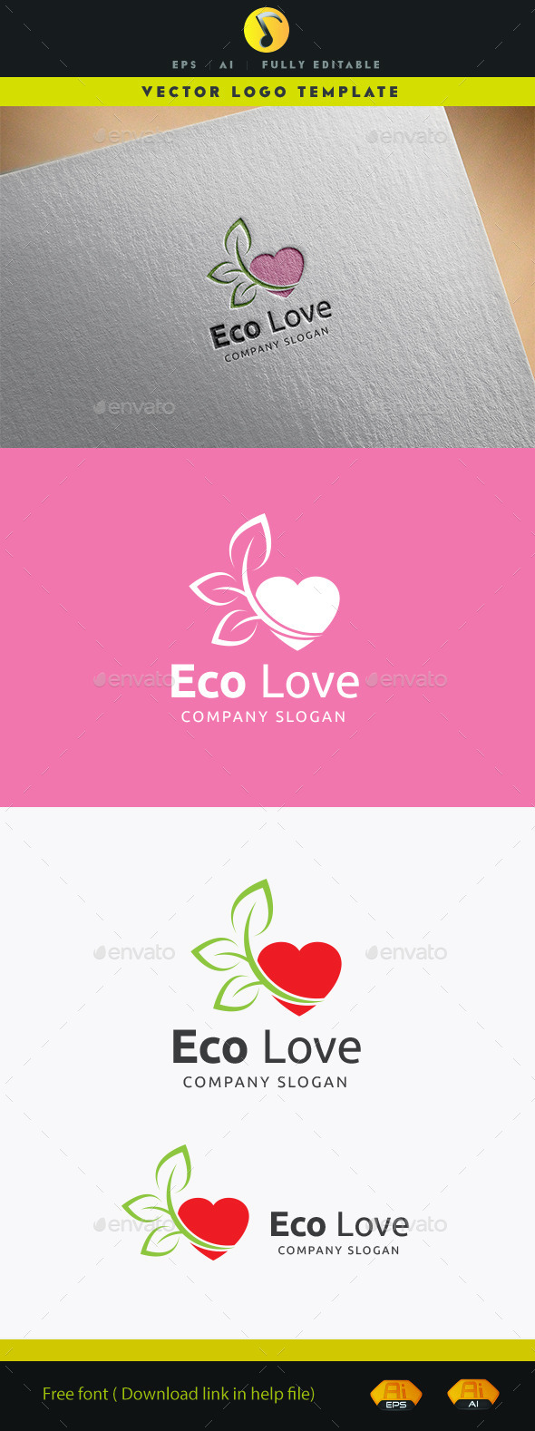 Eco Love Logo - Nature Logo Templates