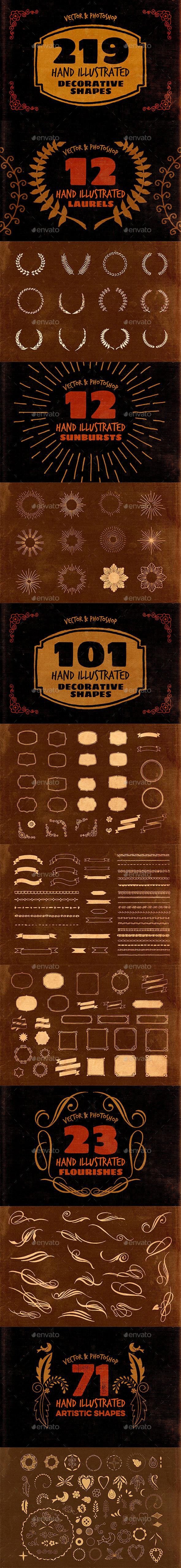 219 Hand Drawn Decorative Shapes - Decorative Symbols Decorative