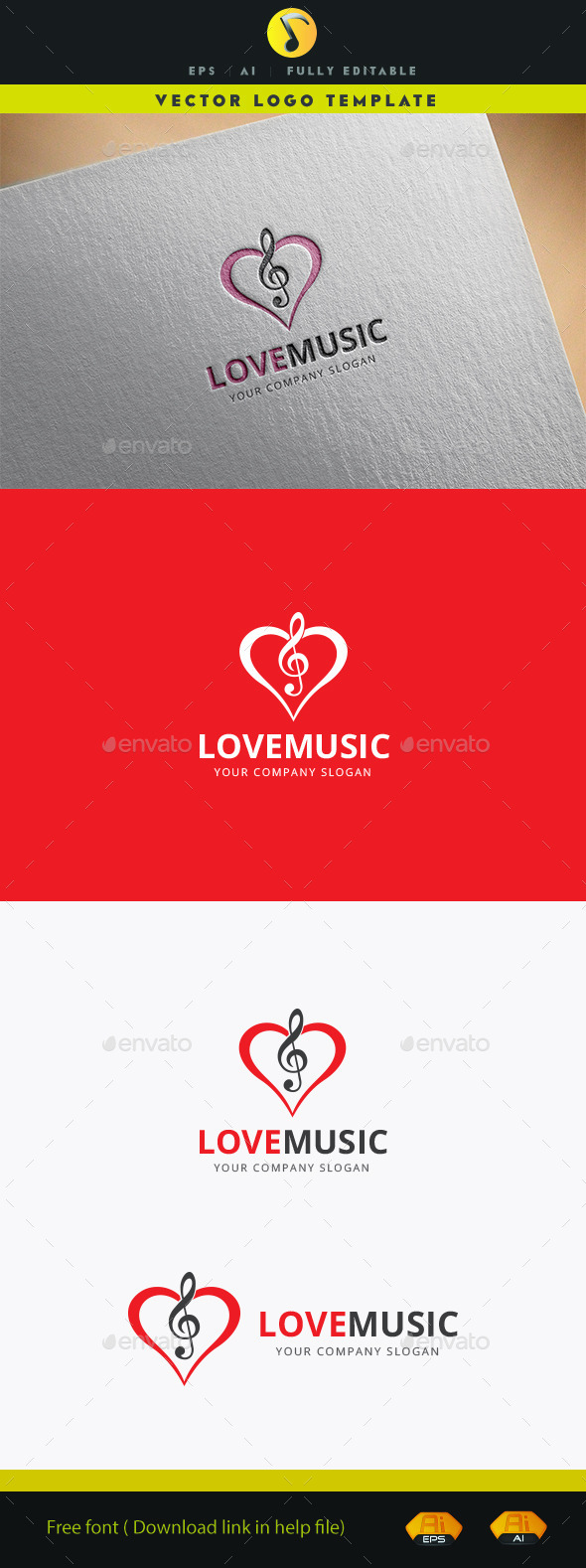 Love Music - Objects Logo Templates