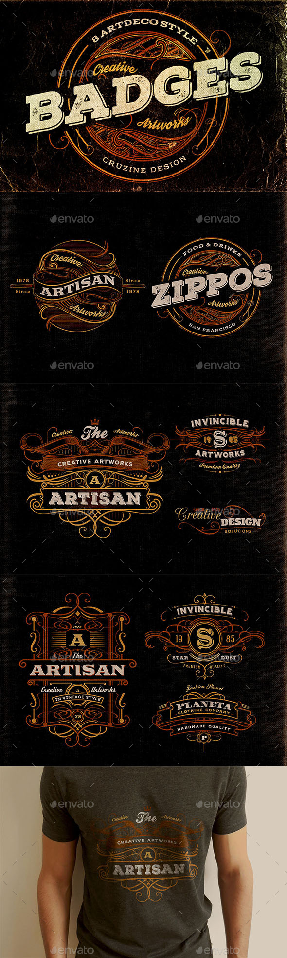 8 Artdeco Style Badges - Badges & Stickers Web Elements