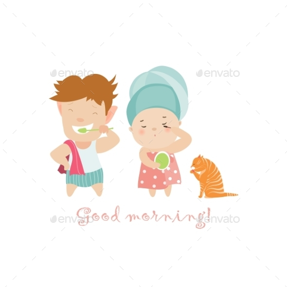 Boy Brushing Teeth and Girl Painting Eyelashes - People Characters