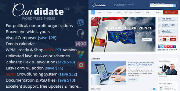 Candidate – Political/Nonprofit WordPress Theme