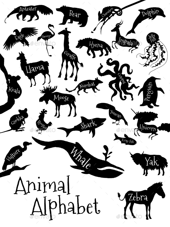 Animal Alphabet Poster for Children - Animals Characters