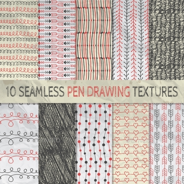 Pen Drawing Seamless Patterns on Crumpled Paper - Backgrounds Decorative