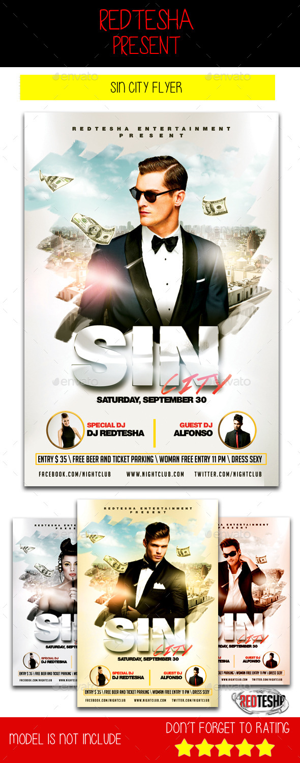 Sin City Flyer - Clubs & Parties Events