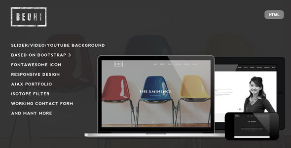 Beuh – Responsive One Page Portfolio Template
