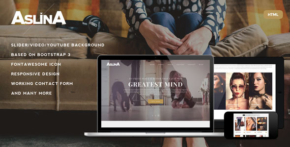 Aslina – Responsive One Page Portfolio Template