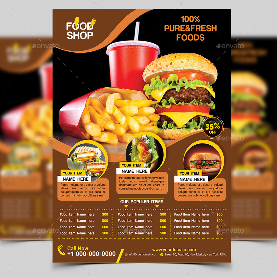 Food Flyer Template By Aam GraphicRiver - Food brochure templates