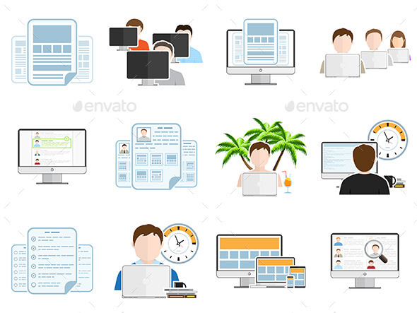 Freelance Business Flat Icons Set - Concepts Business