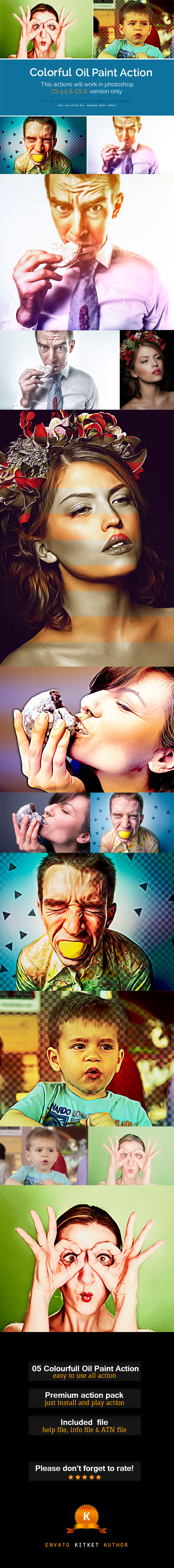 Colorful Oil Paint Action - Photo Effects Actions