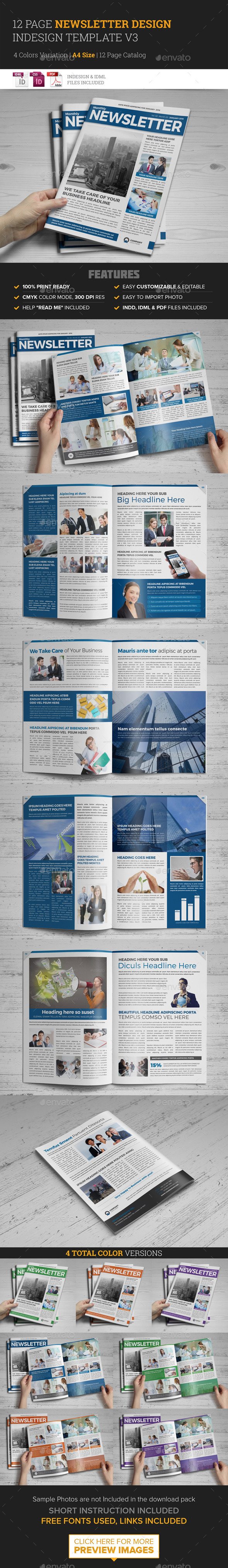 Newsletter Indesign Template v3  - Newsletters Print Templates
