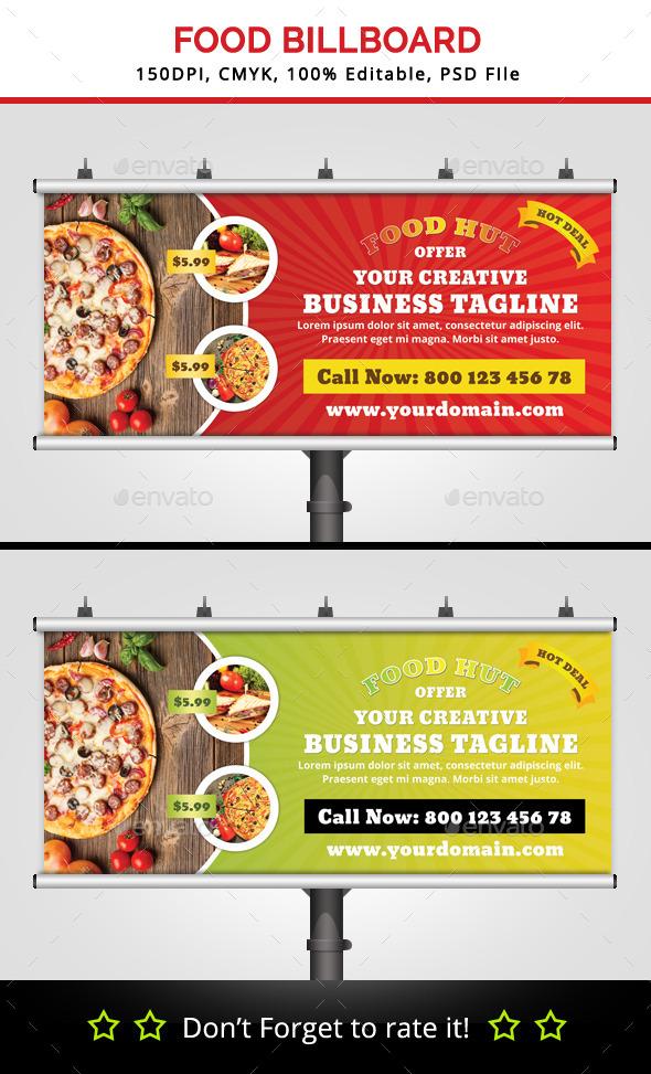 Food Hut Billboard v2 - Signage Print Templates