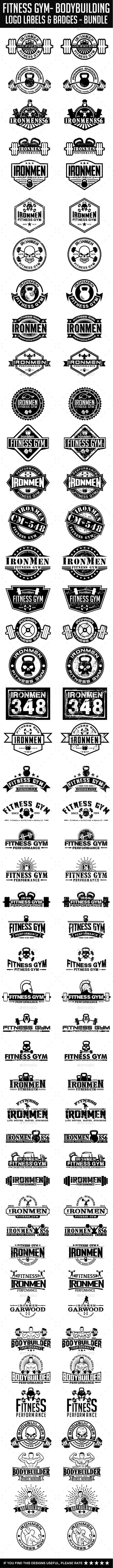 50 Fitness Gym - Bodybuilding Bundle - Badges & Stickers Web Elements