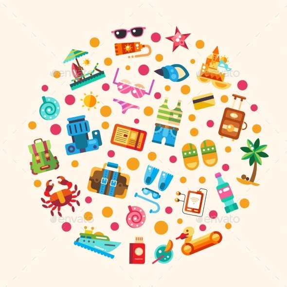 Set Of Flat Design Seaside Travel Vacation Icons - Travel Conceptual