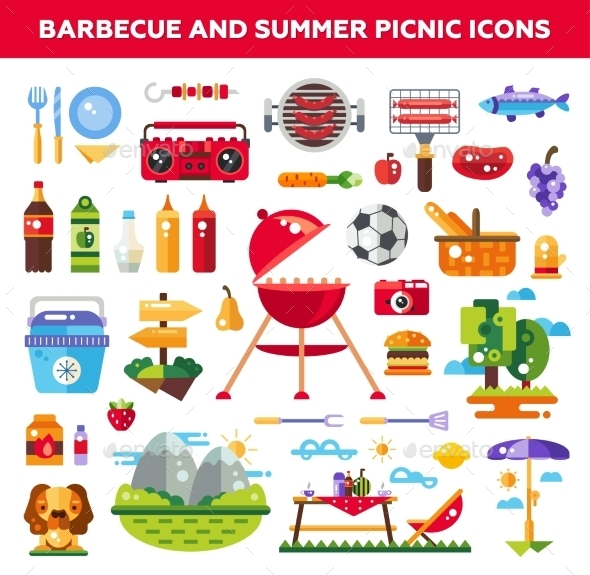 Set Of Flat Design Barbecue And Summer Picnic - Food Objects