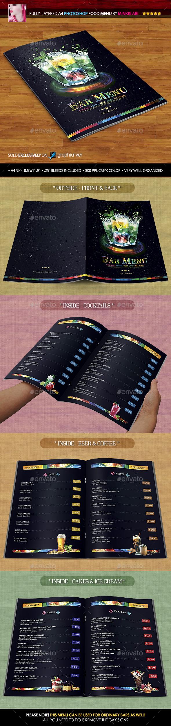 Bar Menu - Food Menus Print Templates